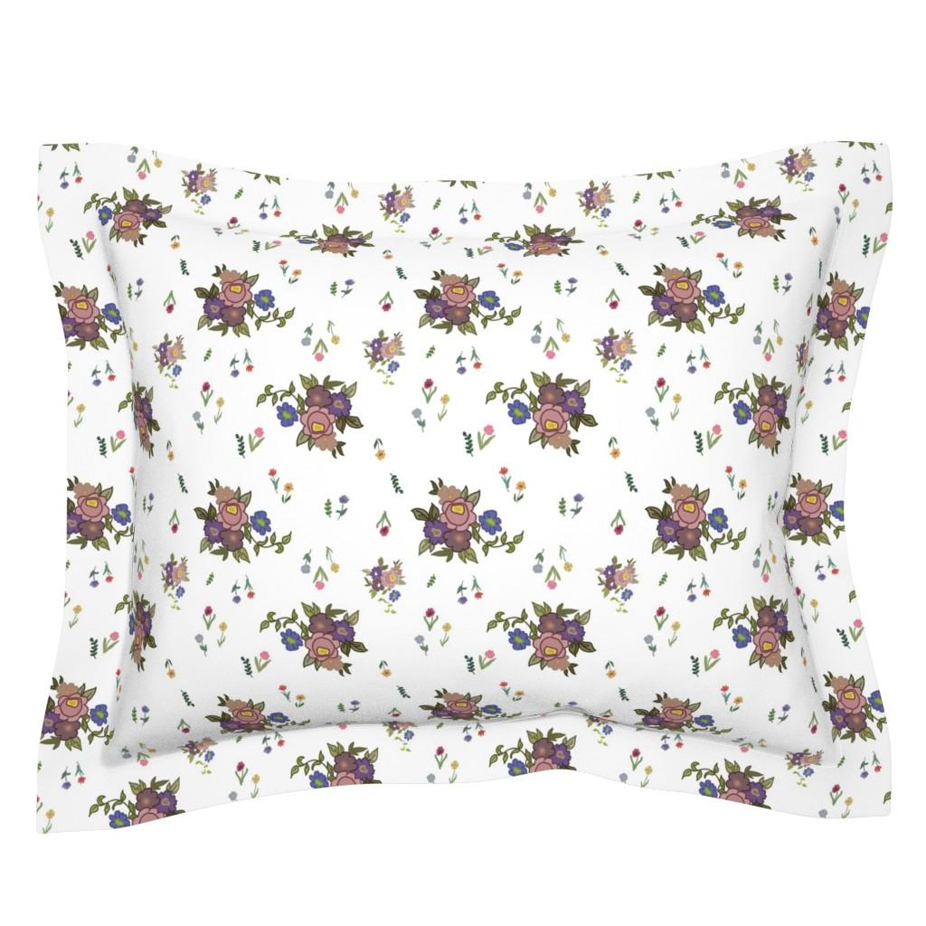 Sebright Pillow Sham featuring Granny's Garden Chintz - White, medium by bravenewart