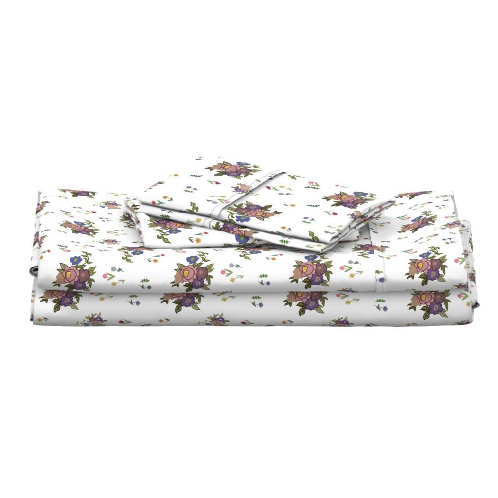 Langshan Full Bed Set featuring Granny's Garden Chintz - White, medium by bravenewart
