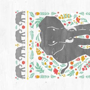 Elephant Folk Art Tea Towel