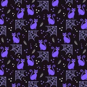 Purple Halloween cats Fabric