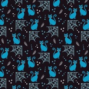 Blue Halloween cats Fabric