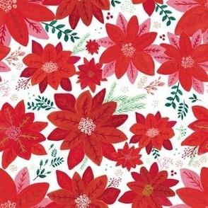 Nostalgic Holiday Red Poinsettia Flowers