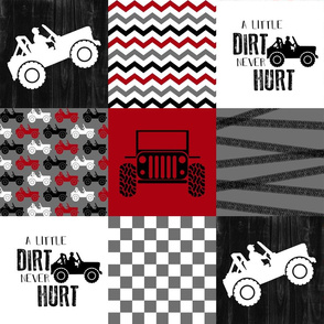 Jeep//A little Dirt Never Hurt//Red - Wholecloth Cheater Quilt