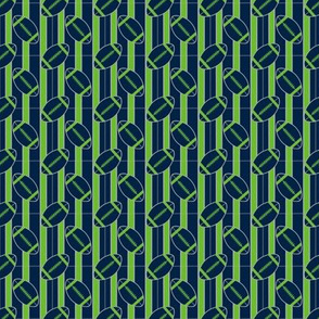Small Scale Football Polka Dots in Green and Blue