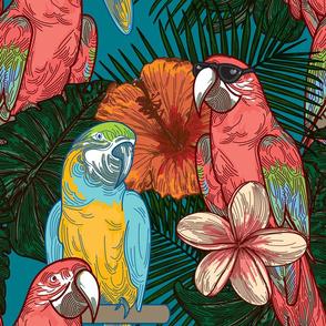 Cool Floral Tropical Parrots
