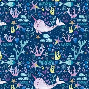Cute marine watercolor pattern with hand drawn narwhals corals seafish