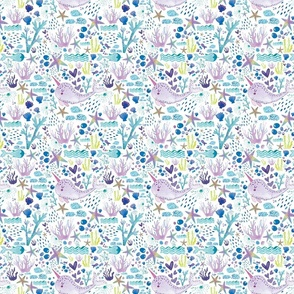 Cute marine watercolor pattern with hand drawn narwhals corals seafish white background