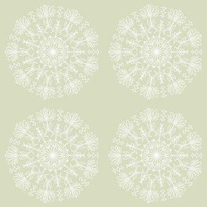 circular floral pattern in lime