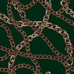 80s Hunter Green Baroque Chain Pattern