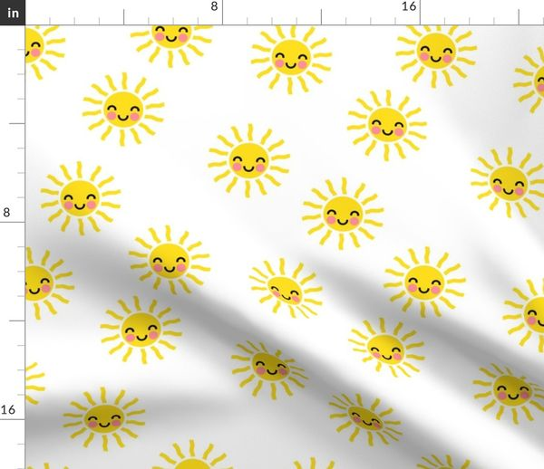 Sunshine Cute Suns Yellow And White Spoonflower