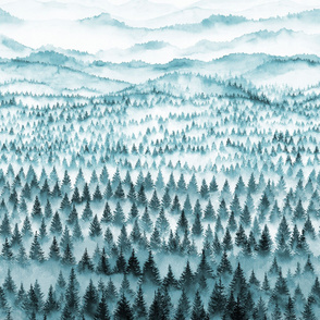 Walden - forest and mountains with thousands of trees in the mist - 2 yards/meters high