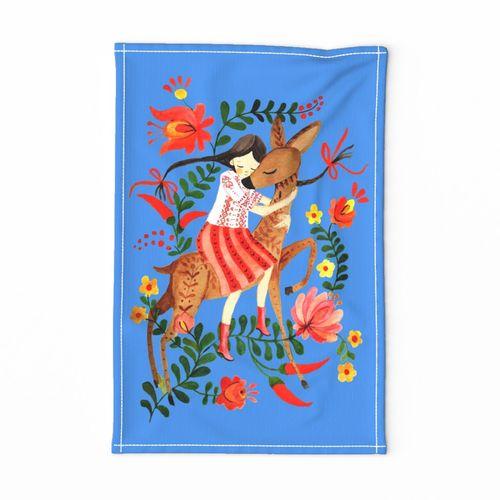 tea towel folk blue