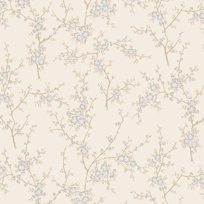 Blossom Branch- Ivory and Soft Blue