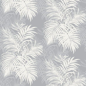 Stone Grey Tropical Leaves