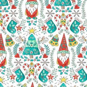 Small Scale Folk Tomte and Tree Christmas  // swedish  scandinavian folk art gnome christmas tree holiday  stocking candy cane holly giftwrap fabric
