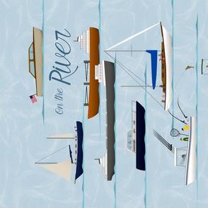 On the River II coastal nautical folk art tea towel