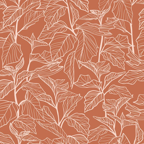 Leaves line drawing - Terracotta Red