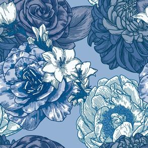 Blue Chintz Large Floral Pattern