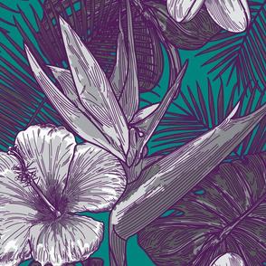 Vaporwave Tropical Floral Print