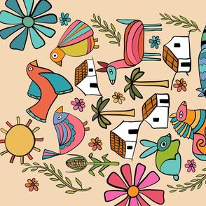 El Salvador Folk Art Tea Towel - Tan
