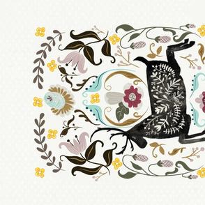 Folk art wild and free tea towel
