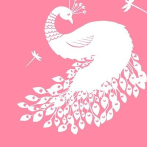 White Peacock and Dragonflies on Pink