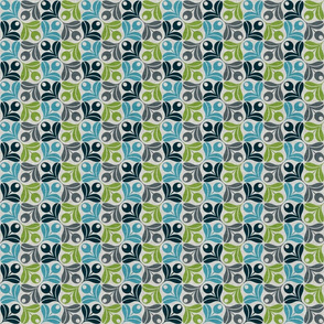 Abstract Olive Flower - green/blue