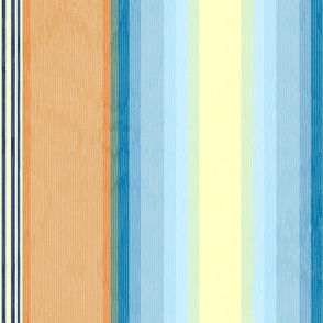 Retro Flame Moire Stripe ~ Orange and Blue