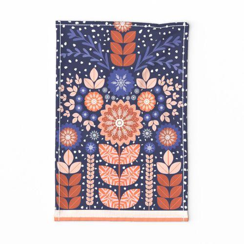 Scandinavian folk art tea towel