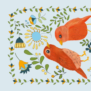 A Pair of Folk Art Birds