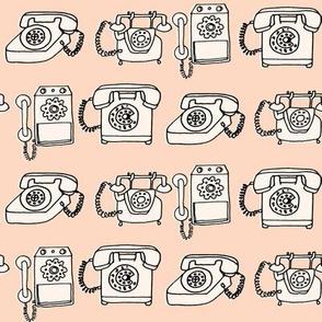 rotary telephone // light peach blush champagne vintage rotary phone