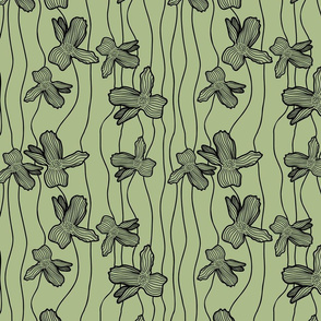 Floral Lines - Green