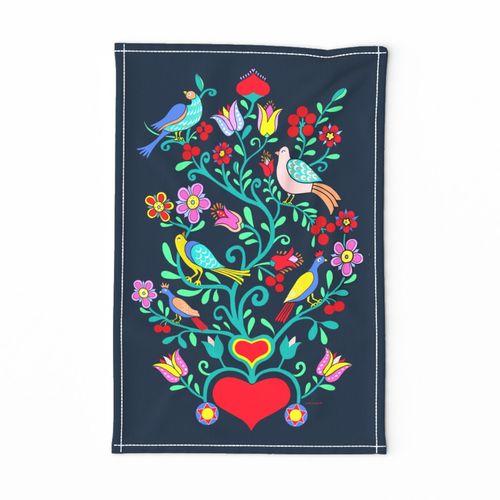 Spoonflower Tea Towel Folk Art Deer Doe Flowers Woodland Girl Linen Cotton