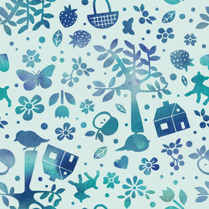 Wonderland garden - turquoise - large scale