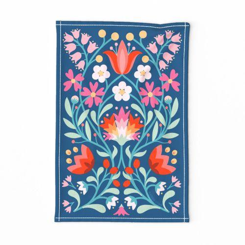 folk embroidery flowers tea towel in blue by Pippa Shaw