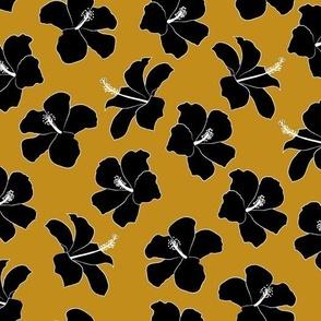 SMALL freehand hibiscus - mustard  & black