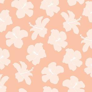 SMALL freehand hibiscus - peach & pale peach
