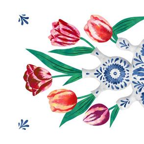 Tulips in royal blue vase tea towel