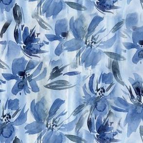 Queen's garden in blue • watercolor flowers