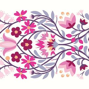 folk embroidery flowers tea towel fuchsia by Pippa Shaw