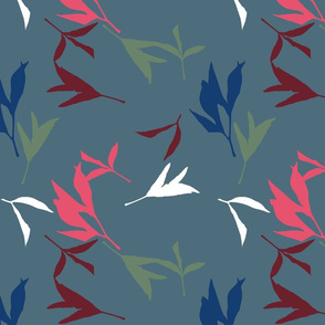 Peony Leaf Silhouettes Blue Whimsy