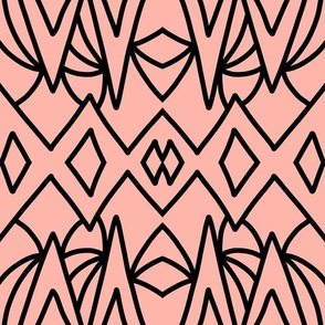 Art Deco Geometric - black on coral blush