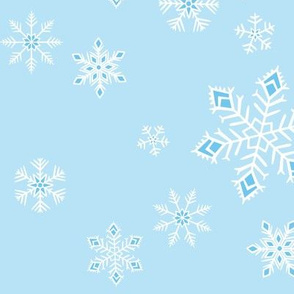 large - snowflakes on light blue