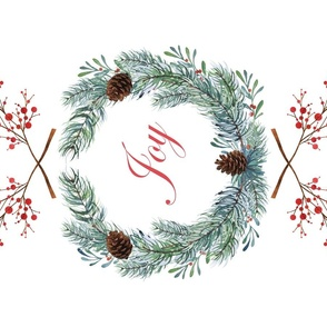 Christmas wreath Noël tea towel