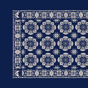 American Woven Coverlet Replica in Blue