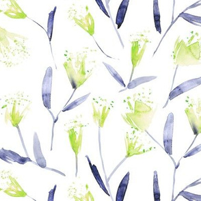 Magic flowers • kelly green and indigo • watercolor florals