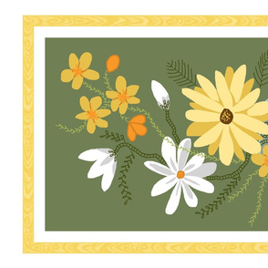 tea towel ribbon border floral 3a