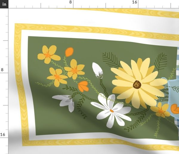 Fabric By The Yard Tea Towel Ribbon Border Floral 3a