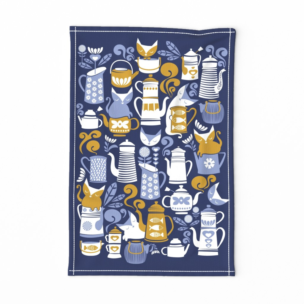 Special Edition Spoonflower Tea Towel featuring Folk Tea Invitation Tea Towel // pale blue white and yellow cats by selmacardoso