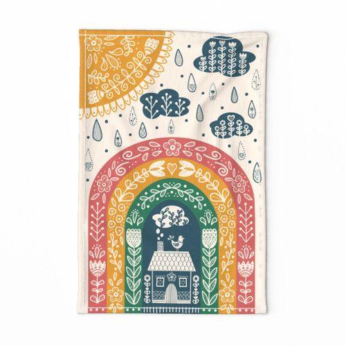 Folk Art Rainbow Tea Towel // hand drawn scandinavian folk art rainbow kitchen decor tea towel
